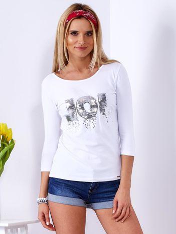 Bluzka biała z cekinowym napisem
