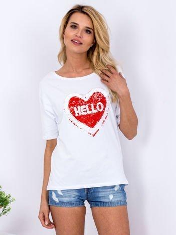 Bluzka biała z dwustronną cekinową aplikacją