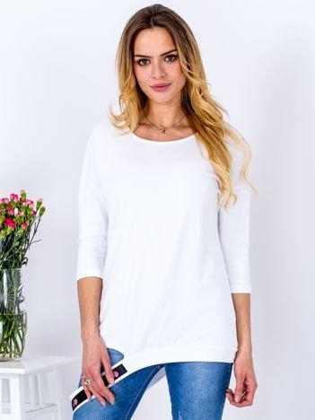 Bluzka biała z ozdobnym paskiem