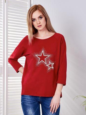 Bluzka ciemnoczerwona z biżuteryjnymi gwiazdkami