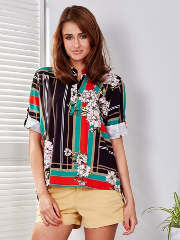 Bluzka czarna w kratę i kolorowe kwiaty
