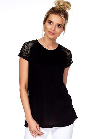Bluzka czarna z transparentnymi rękawami