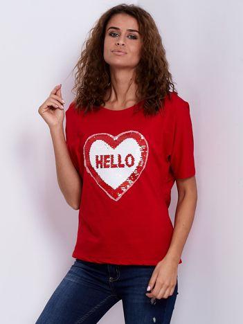 Bluzka czerwona z dwustronną cekinową aplikacją