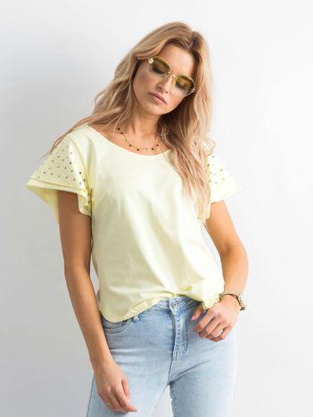 Bluzka damska z aplikacją na rękawach żółta