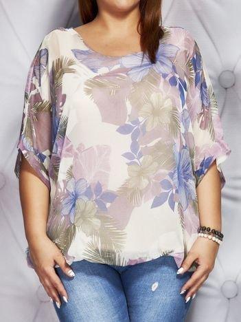 Bluzka damska z motywem exotic print jasnoróżowa PLUS SIZE