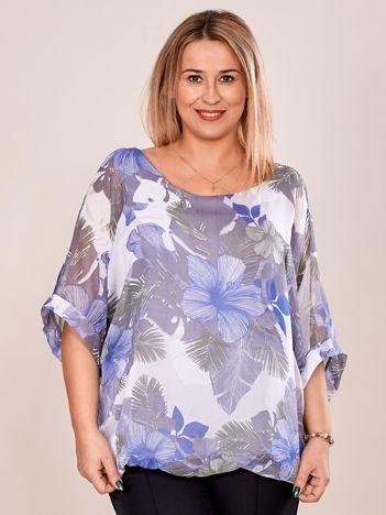 Bluzka damska z motywem exotic print szara PLUS SIZE