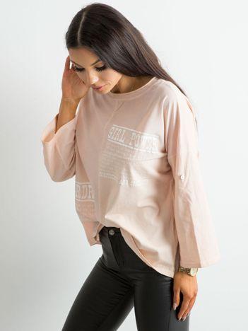 Bluzka damska z nadrukiem brzoskwiniowa