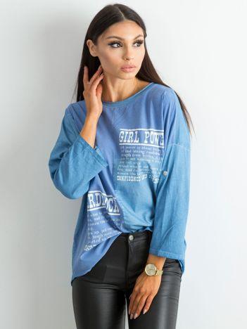 Bluzka damska z nadrukiem ciemnoniebieska