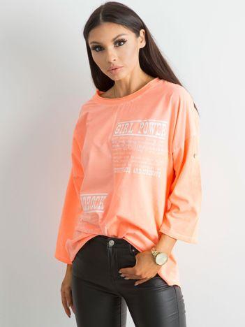 Bluzka damska z nadrukiem fluo pomarańczowa