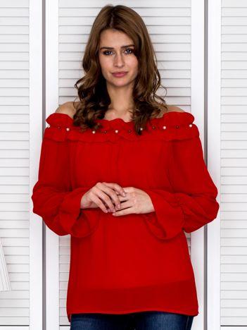 Bluzka damska z ozdobnym dekoltem czerwona