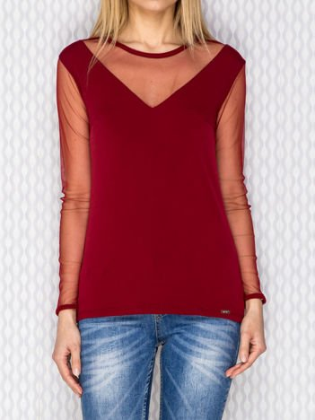 Bluzka damska z siateczkowymi wstawkami bordowa