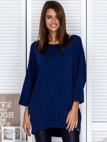 Bluzka damska z surowym wykończeniem ciemnoniebieska