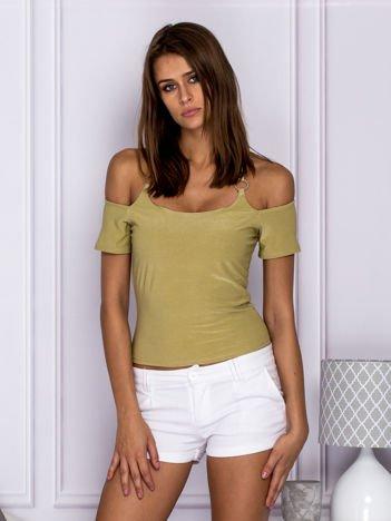 Bluzka damska z wiązaniem zielona