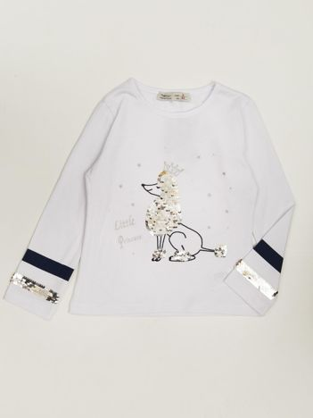 Bluzka dla dziewczynki z aplikacją biała