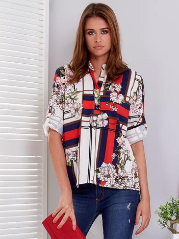 Bluzka ecru w kratę i kolorowe kwiaty