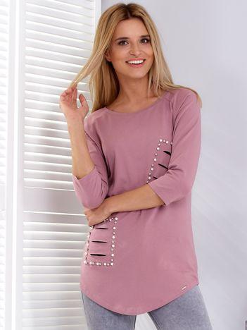 Bluzka fioletowa z rozcięciami i aplikacją z perełek