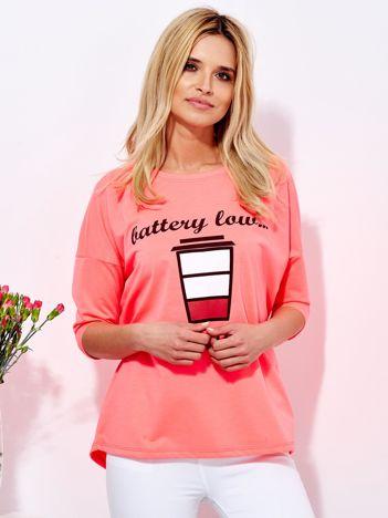 Bluzka fluo różowa z kawą