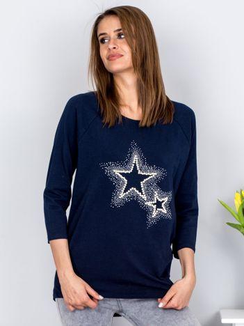 Bluzka granatowa z biżuteryjnymi gwiazdkami