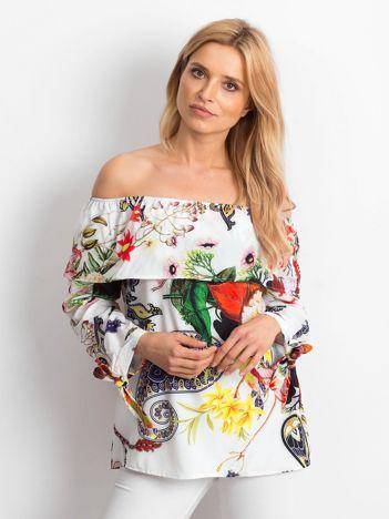 Bluzka hiszpanka biała w kolorowe desenie