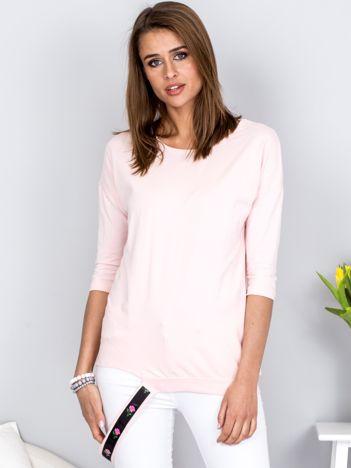 Bluzka jasnoróżowa z ozdobnym paskiem