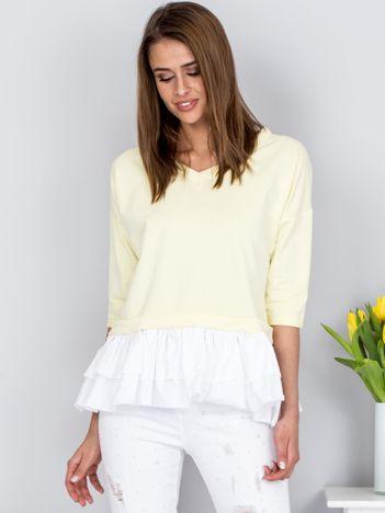 Bluzka jasnożółta V-neck z kontrastową falbanką