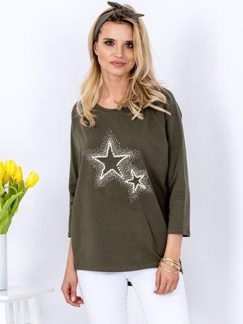 Bluzka khaki z biżuteryjnymi gwiazdkami