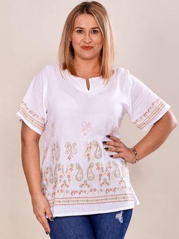 Bluzka koszulowa oversize z motywem paisley biała