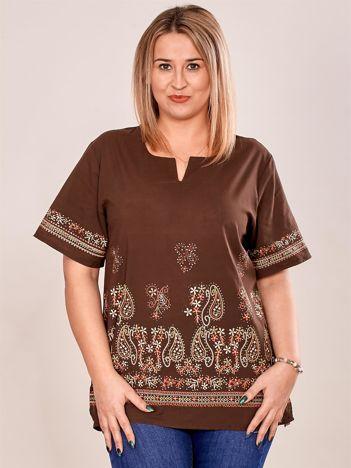Bluzka koszulowa oversize z motywem paisley brązowa