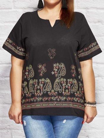Bluzka koszulowa oversize z motywem paisley czarna