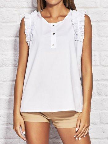 Bluzka koszulowa z falbankami przy ramionach biała