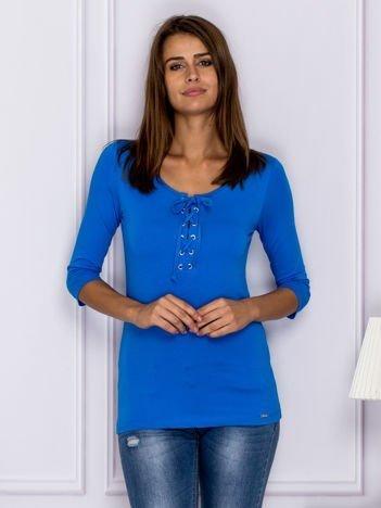 Bluzka lace up niebieska