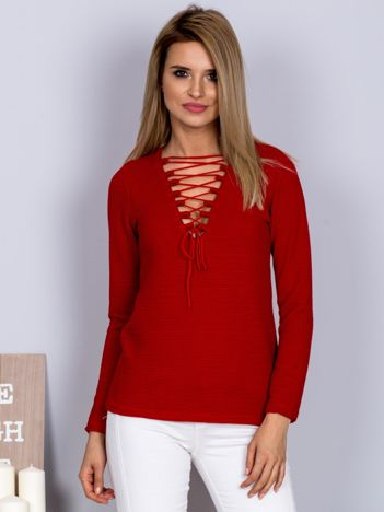 Bluzka lace up z fakturą w paski czerwona