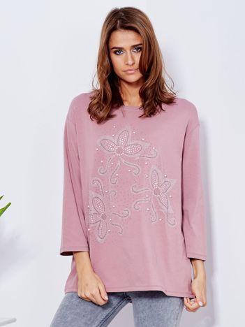 Bluzka lawendowa z ornamentowym wzorem z dżetów
