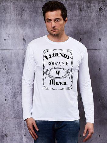 Bluzka męska biała z długim rękawem LEGENDY Z MARCA