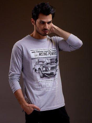 Bluzka męska z nadrukiem samochodu jasnoszara