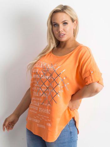 Bluzka plus size z nadrukiem pomarańczowa
