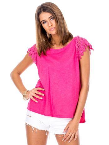 Bluzka różowa z koronkowymi rękawami