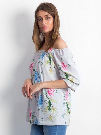 Bluzka szara z hiszpańskim dekoltem w kwiaty