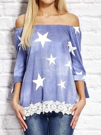 Bluzka w gwiazdy z koronką niebieska
