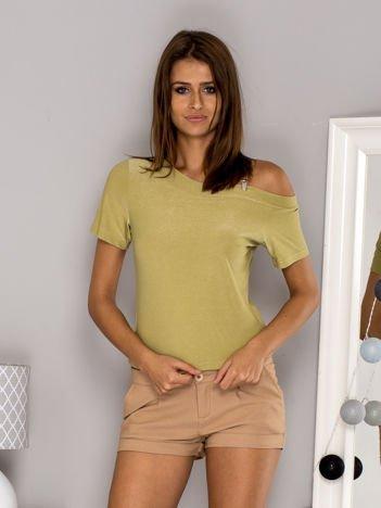 Bluzka z odpinanym paskiem zielona