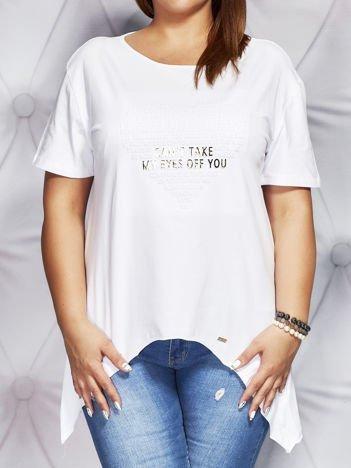 Bluzka z wypukłą aplikacją biała PLUS SIZE