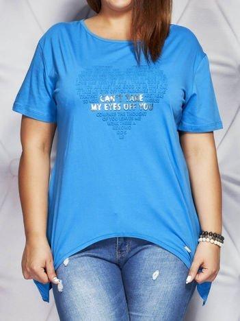 Bluzka z wypukłą aplikacją niebieska PLUS SIZE