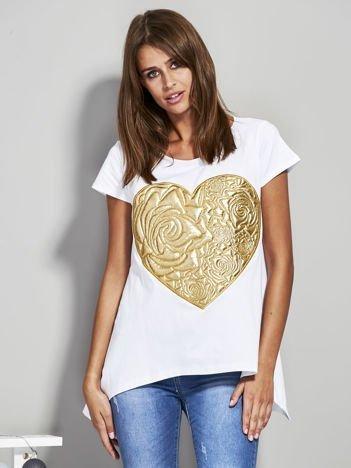 Bluzka ze złotym sercem biała