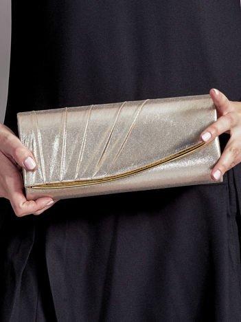 Błyszcząca drapowana złota kopertówka