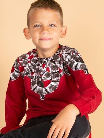 Bordowa bawełniana bluza dziecięca z nadrukiem węży