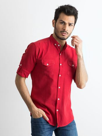 Bordowa bawełniana koszula męska