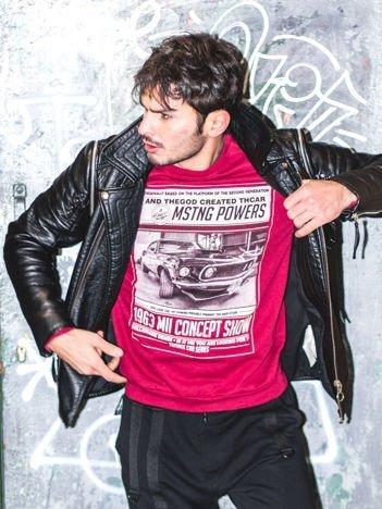 Bordowa bluza męska z nadrukiem auta