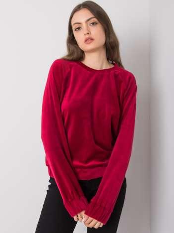 Bordowa bluza welurowa Lorene RUE PARIS