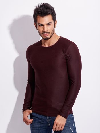 Bordowa bluzka męska w romby