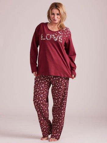 Bordowa damska piżama w kwiaty PLUS SIZE